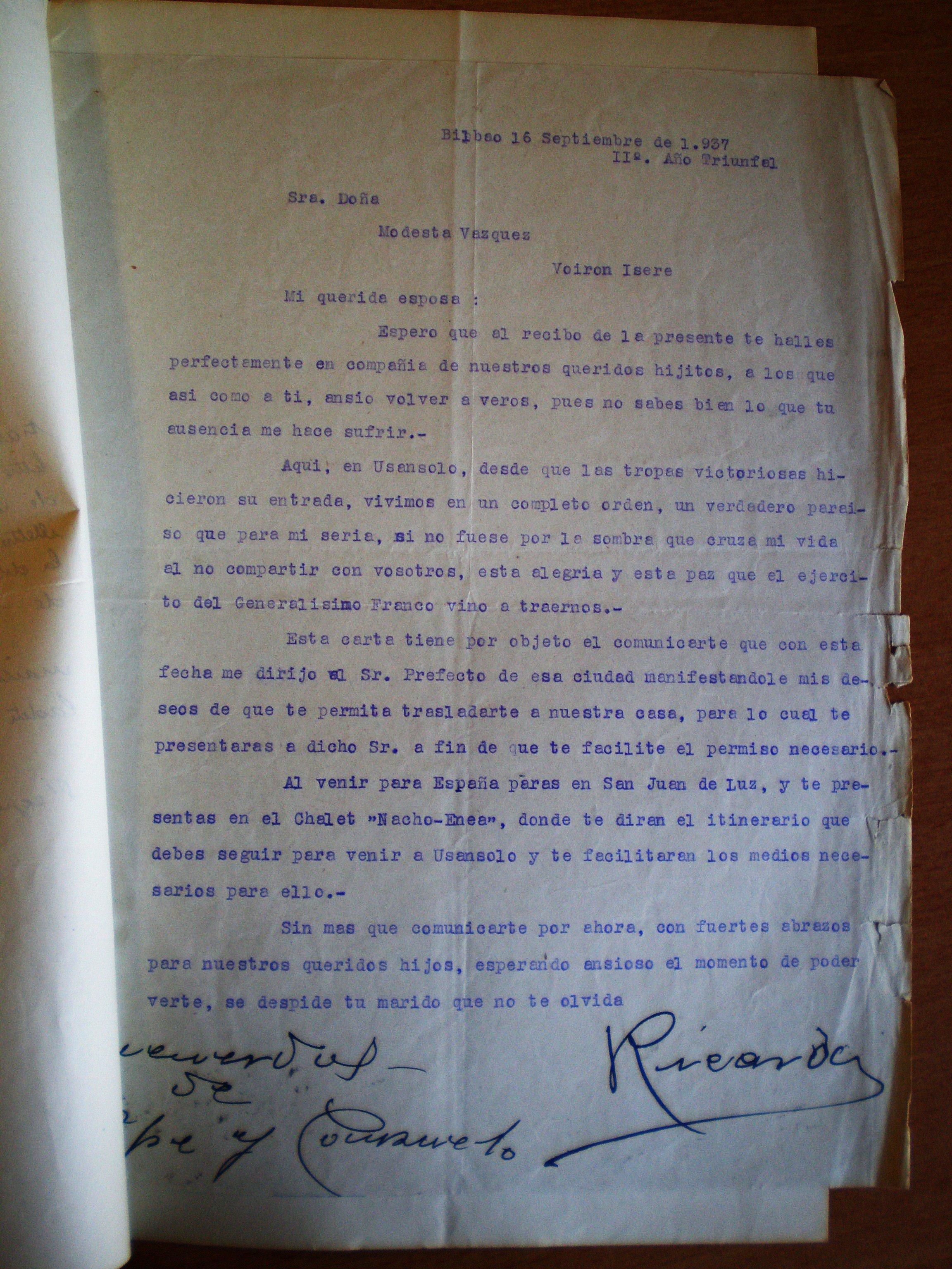 Carta de un nacionalista a su mujer refugiaga en el campo de Voiron ( Isère,Francia ).